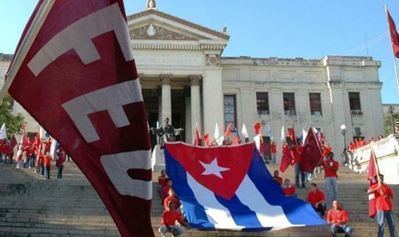 Cuba's FEU, present on the steps of the University of Havana (UH).
