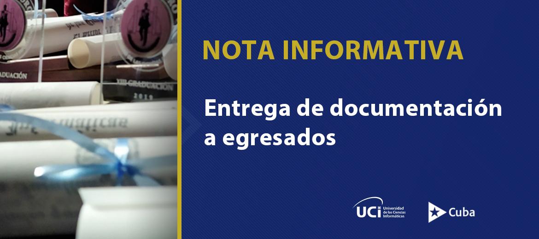Nota informativa sobre entrega de documentación a egresados