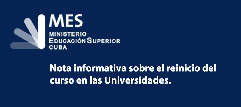 Nota informativa del MES sobre reinicio del curso en las Universidades