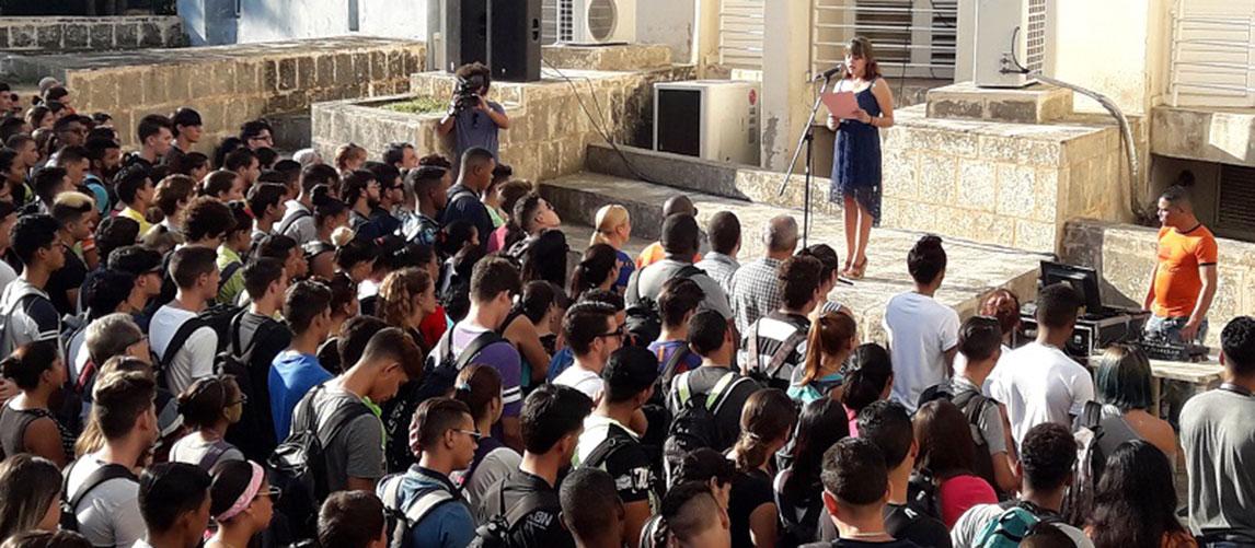 Acto de recordación a Fidel en la Facultad Introductoria de Ciencias Informáticas (Fici)
