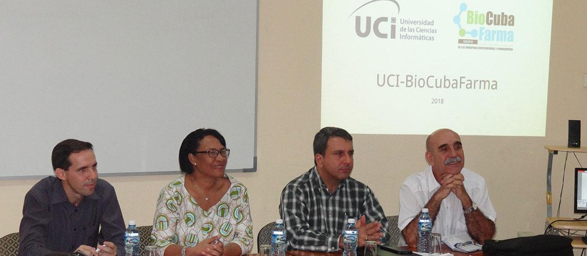 Encuentro entre la UCI y BioCubaFarma para repasar el trabajo desplegado y firmar un nuevo convenio para continuar estrechando vínculos