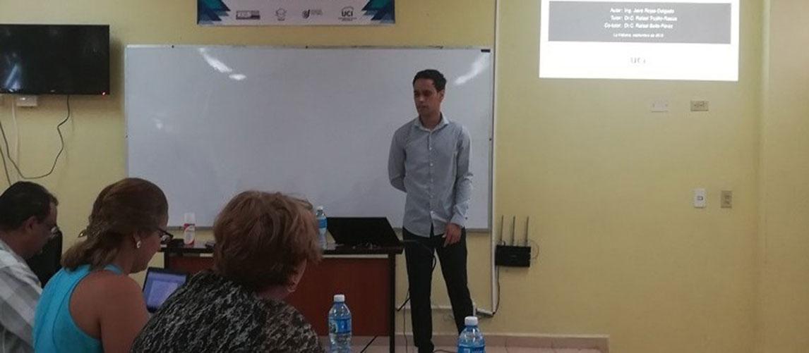 Defensa de la maestría del Ing. Jairo Rojas Delgado, del Centro de Estudios de Matemática y Computación, durante la III Conferencia Científica Internacional Uciencia 2018