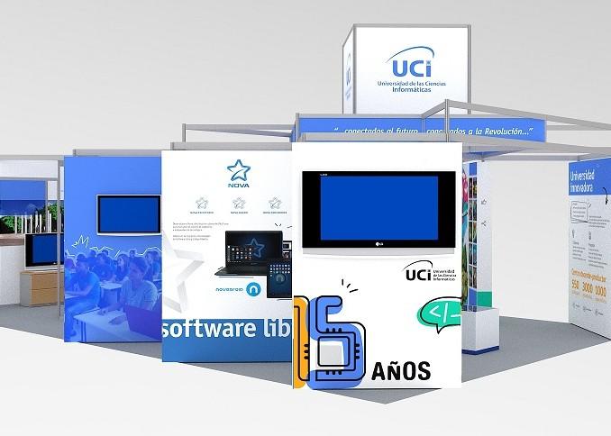 Modelo en 3D del stand de la UCI en la Feria Internacional Informática 2018
