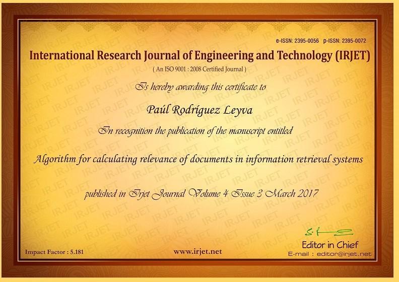 Certificado que avala reciente publicación del Ing. Paúl Rodríguez.