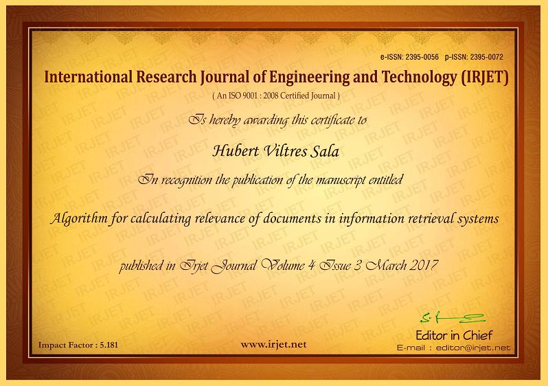 Certificado de publicación de la revista IRJET para artículo científico de Hubert Viltres Sala. Universidad de las Ciencias Informáticas UCI
