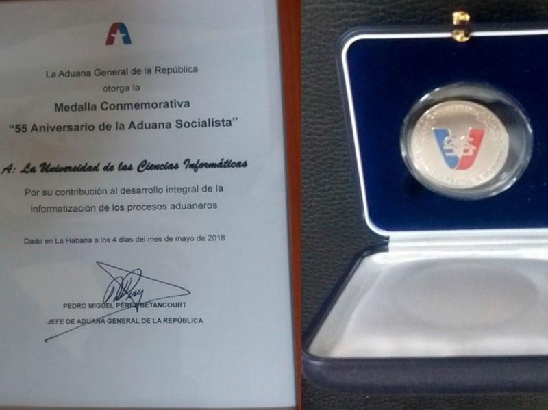 Diploma y Medalla otorgada a la UCI por la Aduana de la República de Cuba con motivo del Aniversario 55 de esa institución, donde reconocen los aportes realizados por el Centro de Informatización de Entidades durante una década.