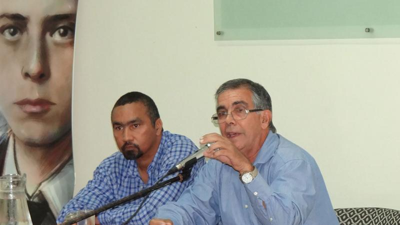 During the talk, the former agent of the Cuban State Security, Dr.C. Daniel Rafuls was accompanied by MSc. Eddy Mac Donald Torres, professor from School 2