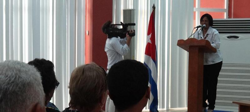 Rectora de la UCI pronuncia palabras de apertura del XIII Taller para la Innovación del Trabajo Político-Ideológico (TPI) que sesiona desde este 8 junio en la institución