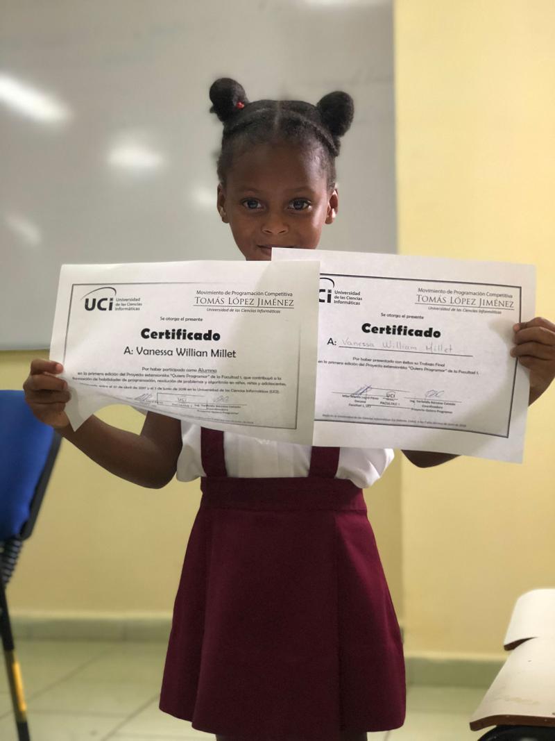 Vanessa Williams Millet, aprendió a leer, escribir y contar hasta el 100 gracias al proyecto. Foto: Liliannis Leblanch Martínez