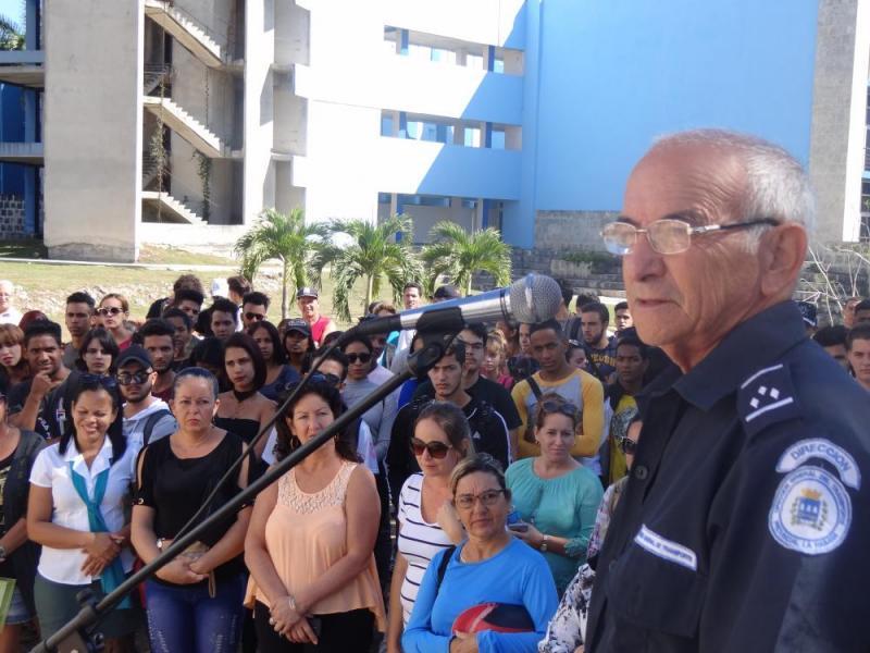 Director de Seguridad Vial de la provincia deLa Habana, Carlos Amador Silva, ofreció las palabras centrales del acto inaugural