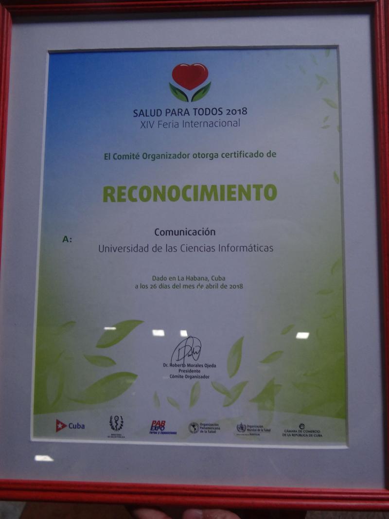 Reconocimiento entregado a la UCI por la Comunicación Integral en función del trabajo realizado.