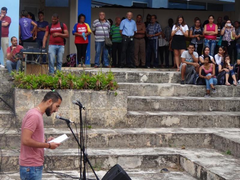 Las palabras centrales del acto estuvieron a cargo del presidente de la Federación Estudiantil Universitaria de la Facultad 4, Javier González Vega.
