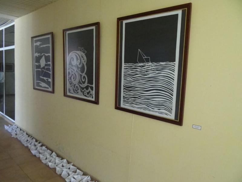 Exhibición de artes visuales del Festival de Artistas Aficionados de la FEU en la Galería del Centro Cultural Wifredo Lam de la Universidad de las Ciencias Informáticas.