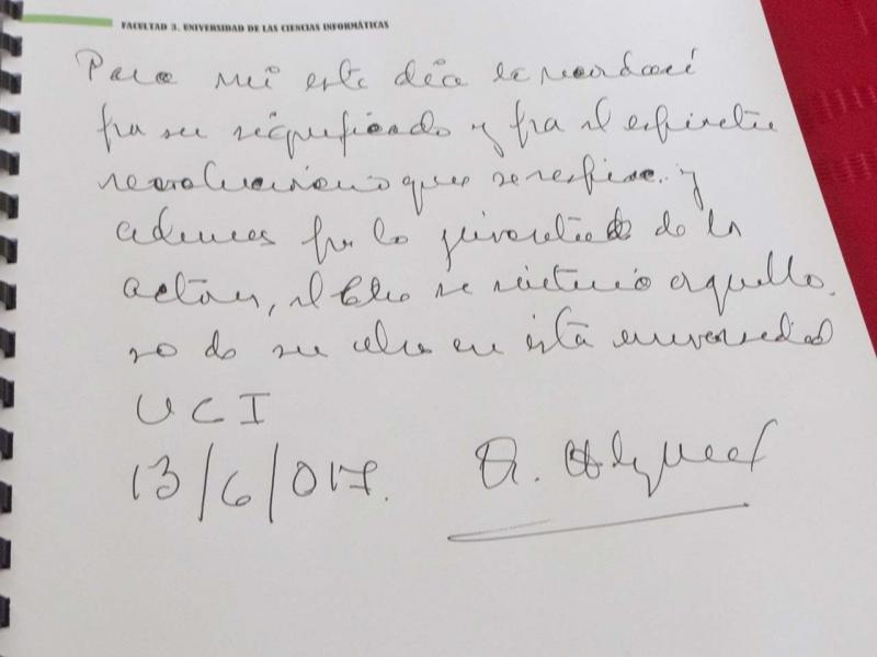 Palabras a la UCI estampadas por Fernández Mell en el libro de visitantes de la Cátedra.
