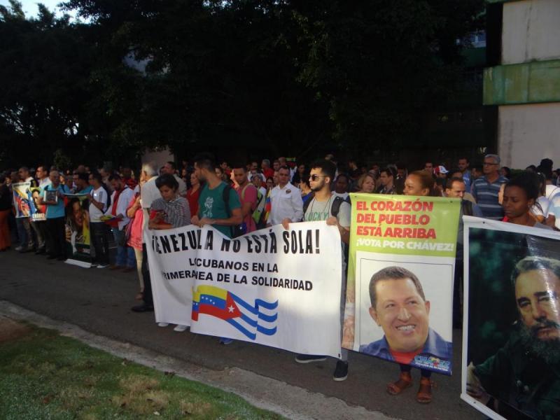 En el acto se demostró el amor a Chávez y la solidaridad de los cubanos con el pueblo venezolano.