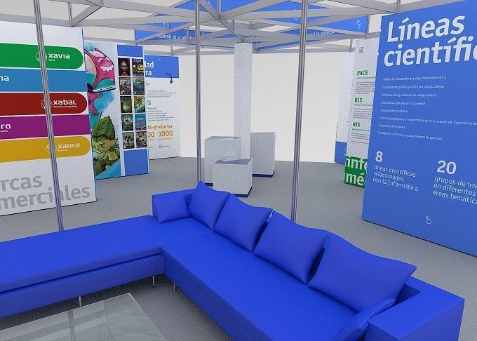 Modelo en 3D del stand de la UCI en la Feria Internacional Informática 2018. Diseño: José Daniel Núñez Cabreja y Camila Suárez Aragón
