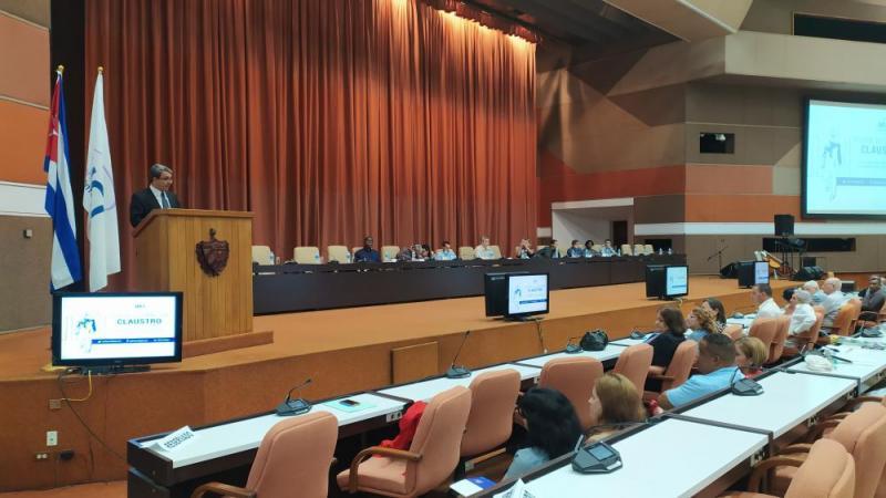 Al intervenir en el acto, el rector de la UCI, Dr.C. Walter Baluja García, resaltó que arribamos a un nuevo aniversario de este querido centro que se ha encargado de aportar a la sociedad en que vivimos.