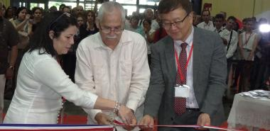 Inauguration of the Informatics Fair 2018 from left to right: Grisel Reyes León, president of GEIC; Maimir Mesa Ramos, Cuban minister of Communications; Mr. Chaesub Lee, director of standardization of the International Telecommunication Union (ITU)