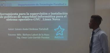 Con su investigación, Lázaro Jesús Cárdenas Tartabull recibió el halago del oponente, sus tutores y los miembros del Tribunal.