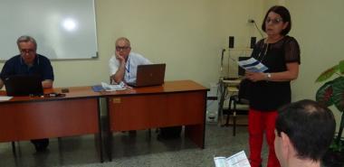 La Dra.C. Vivian Estrada Sentí, coordinadora del Programa de Doctorado en Informática, presentó a los expertos internacionales de la Asociación Universitaria Iberoamericana de Posgrado (AUIP) que evalúan integralmente este programa.