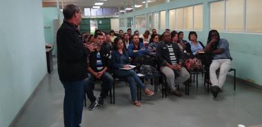 El MSc. Ernesto Miguel García González, director de Extensión Universitaria, presentó el informe de balance de 2017