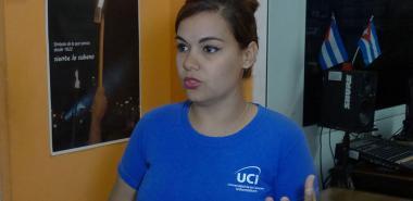 Eliani Cabrera García, presidenta de la FEU en la UCI, dialoga sobre las actividades en nuestra Universidad previas a la cita nacional del 9no. Congreso de la organización