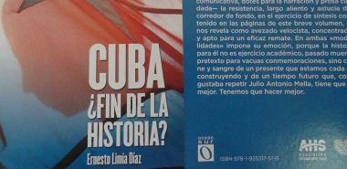 Cover and back cover of the book Cuba: End of History ?, by author Ernesto Limia Díaz. Photo: Alberto Medina Cruz.