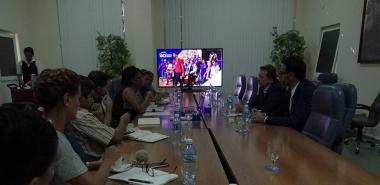 Los visitantes fueron recibidos en el Salón de Protocolo del docente José Martí