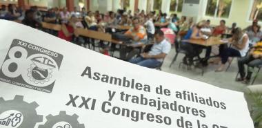 Asamblea de afiliados y trabajadores de la Dirección de Residencia de la UCI, previa al XXI Congreso de la CTC